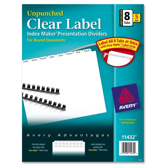 Avery index maker clear label divider unpunched for Avery 8 tab clear label dividers template