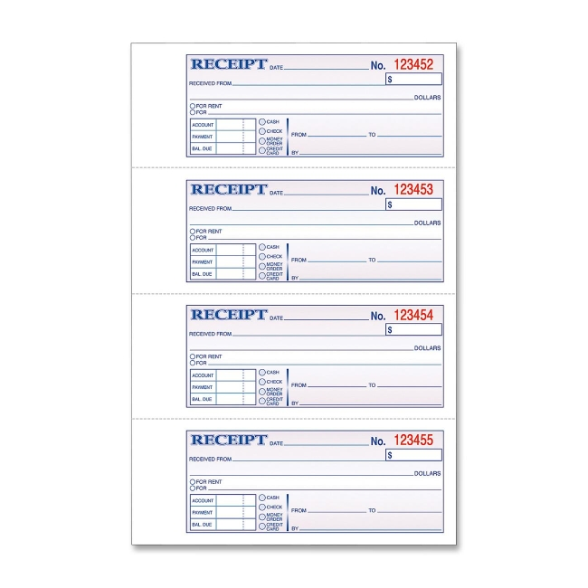rent receipt book template