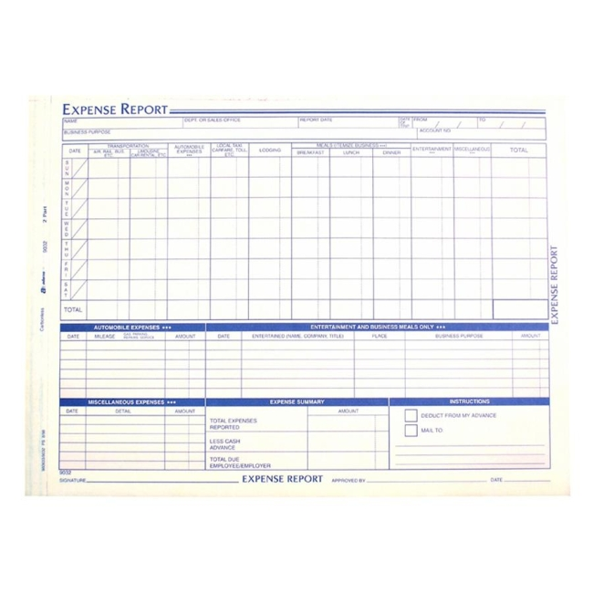 Adams Weekly Expense Report Forms   Pack  QuickshipCom