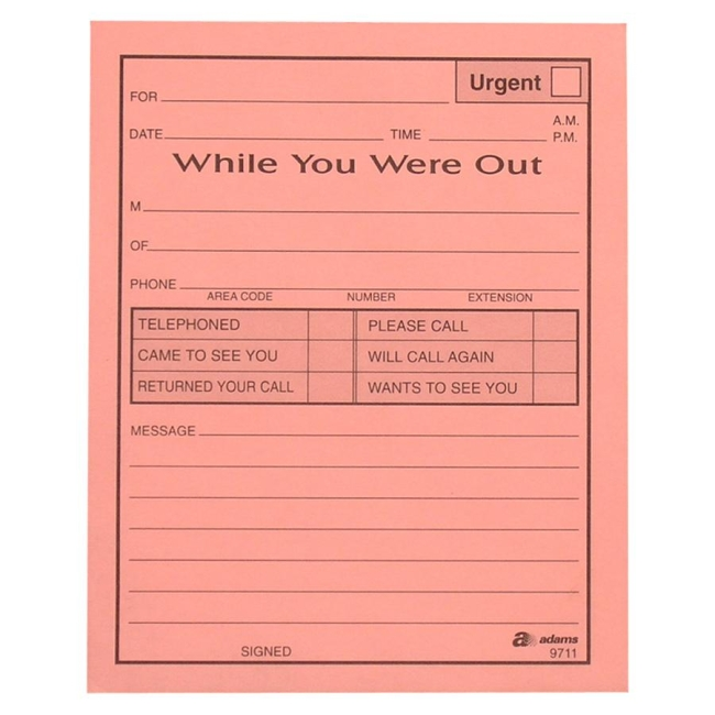 Adams While You Were Out Message Pads - 12 / Pack - 50 Sheets ...