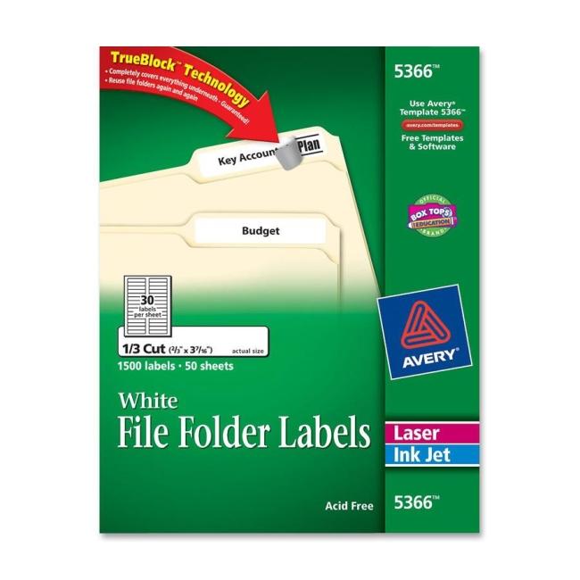 avery filing labels 1500    box - white