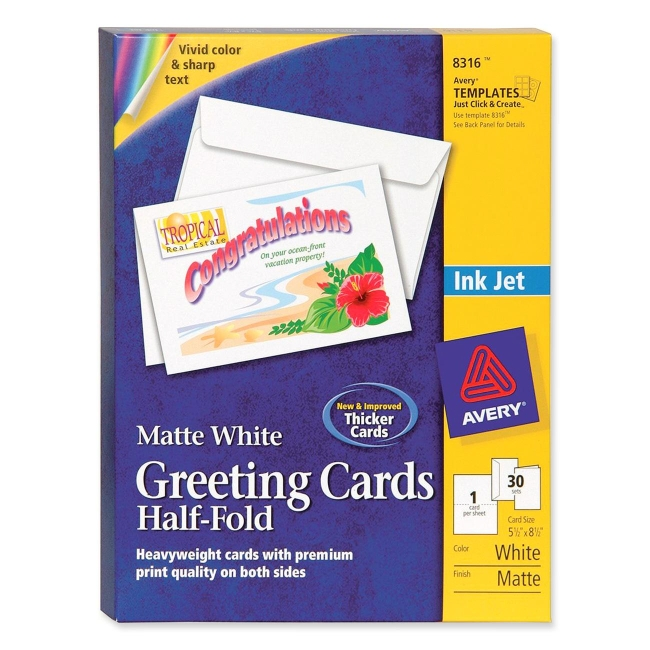 avery half-fold greeting card - 30    box