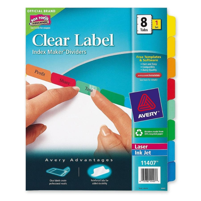 avery index maker white divider with color tabs 8 set - Avery Colored Labels