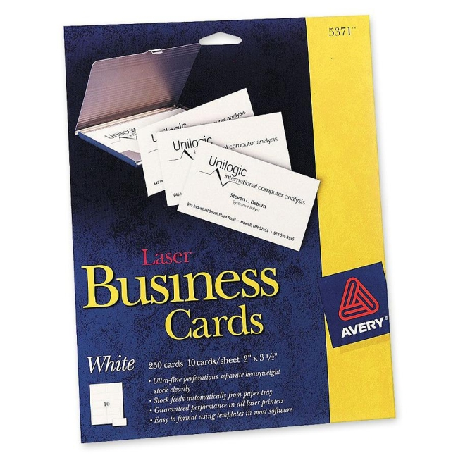 avery laser perforated business cards - white   pack