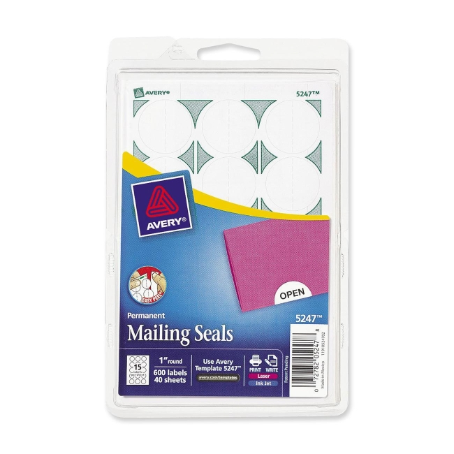 Avery Print or Write Mailing Seals - 600 / Pack - White ...
