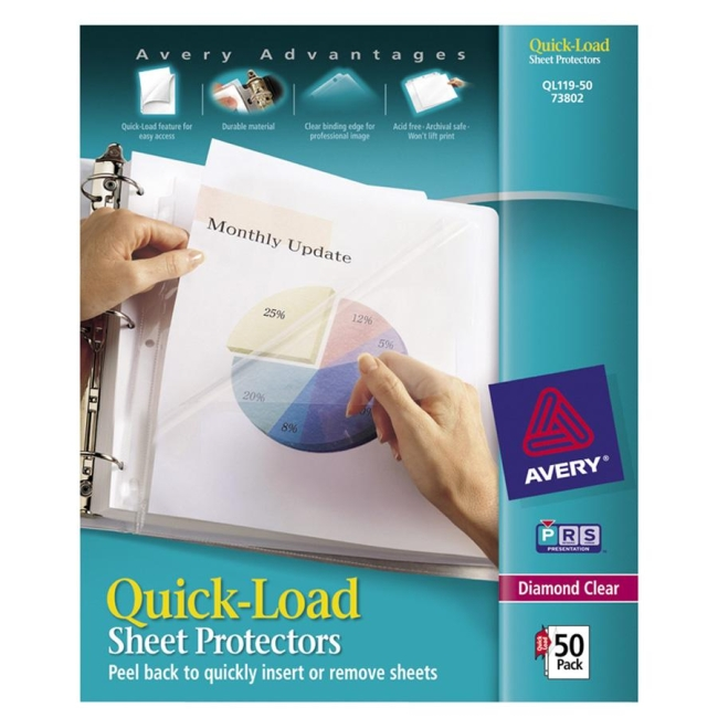 Avery Quick Load Sheet Protector Quickship Com
