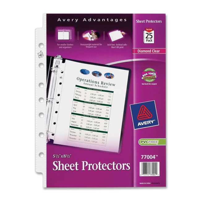 Avery 77004 Sheet Protector 25 Bag Diamond Clear