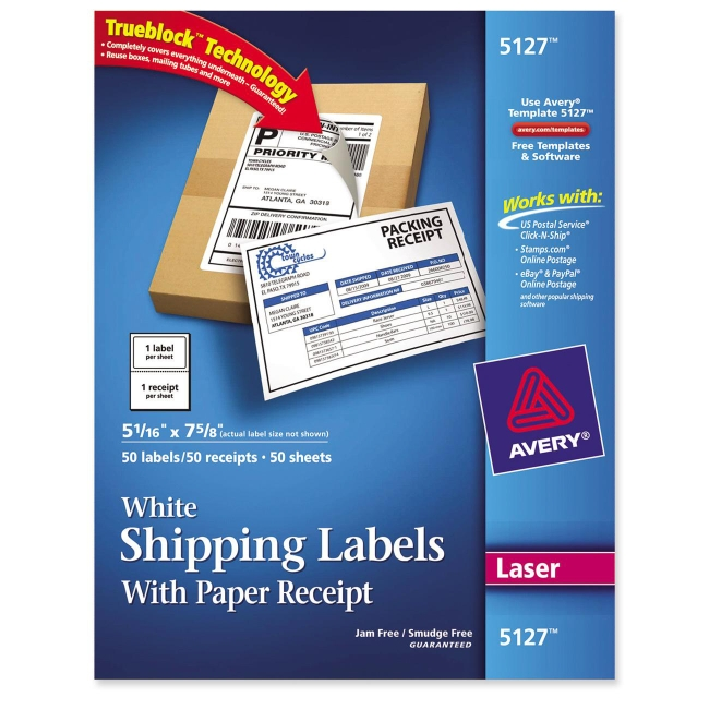 Avery Shipping Label With Paper Receipt Quickshipcom - Avery brochure template
