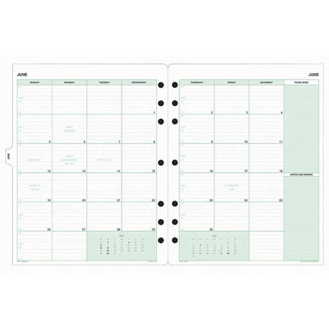 Monthly Calendar Refills : Day timer monthly calendar refill quickship