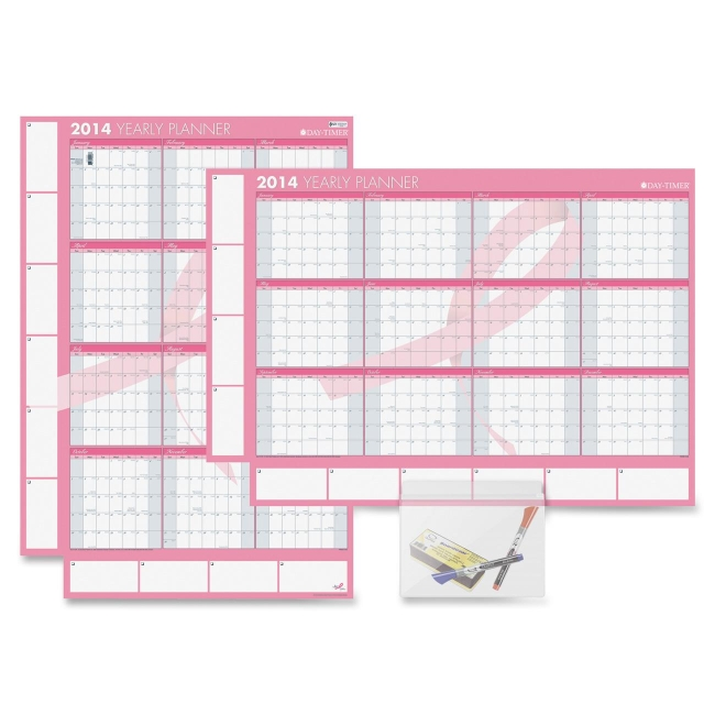 Pink Ribbon Yearly Erasable Wall Calendar (DTM17244) Yearly, Monthly ...
