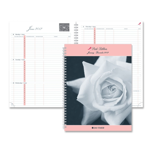 Day Timer Wirebound Pink Ribbon Refill Pink Cover