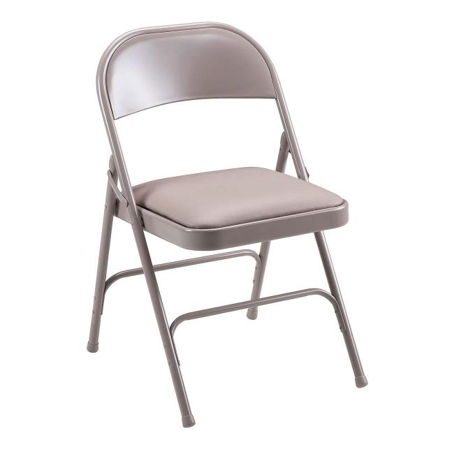 Lorell Steel Folding Chair 4 Carton Steel Beige Quickship