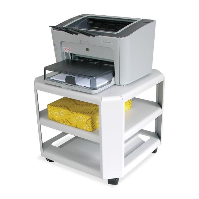 master mobile printer stand gray steel 3 shelves