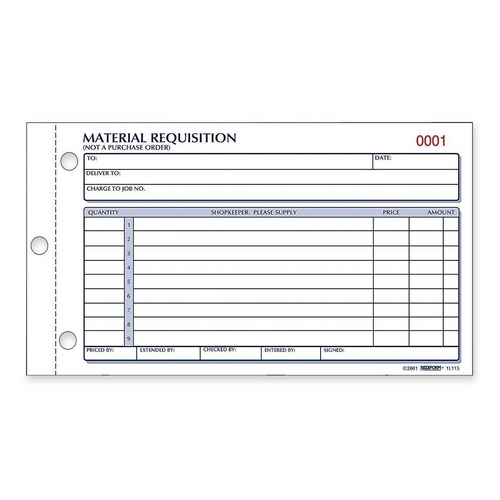 Rediform Material Requisition Purchasing Form  QuickshipCom