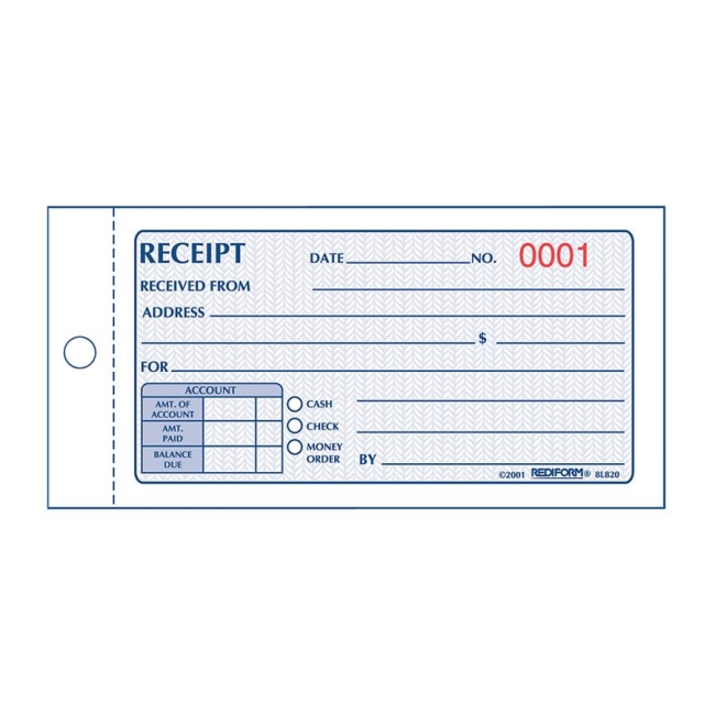Rediform Money Receipt 2/Part Collection Forms  Cash Receipt Forms