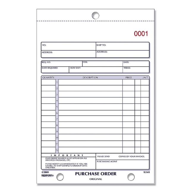 "Rediform Purchase Order Form - 2 Part - 7.87"" X 5.5"" - Quickship.Com"