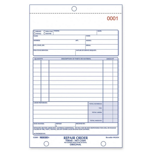 Rediform Repair Order Form Book  QuickshipCom