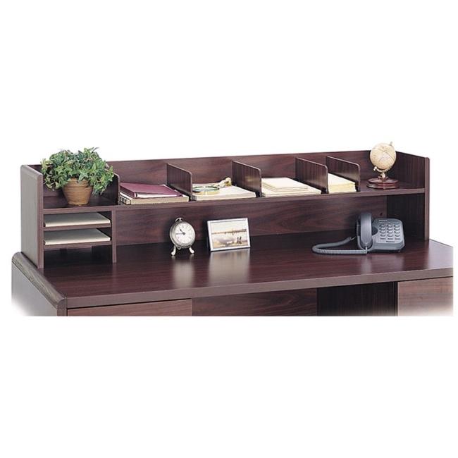 Safco Low Profile Wood Desktop Organizer - 1 Each - Mahogany