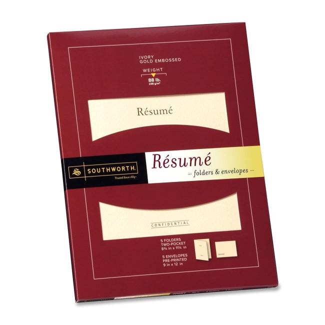"""Southworth Resume Folders and Envelopes- 11.25"""" Height x 8.75"""" Width"""