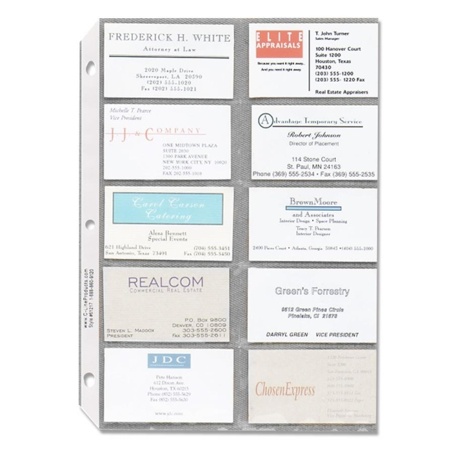 Sparco Business Card Sleeves 10 Pack Clear