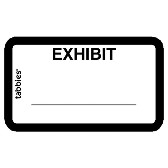 tabbies legal exhibit labels white 252 pack With exhibit label template