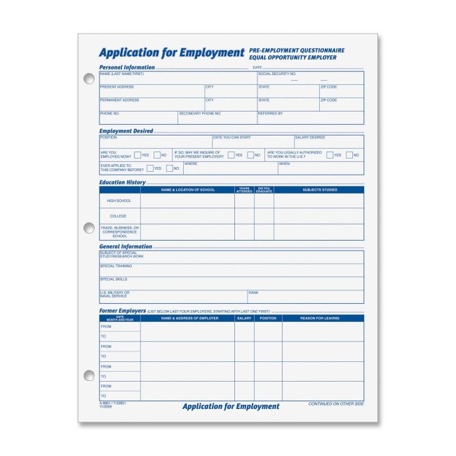 "Tops Employment Application Form 50 Sheets 11"" Length X 8.50"