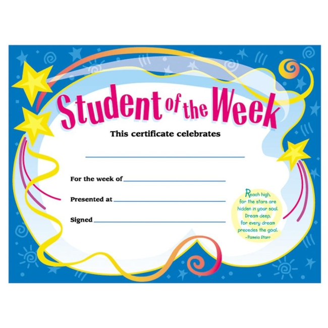 Trend student of the week certificate for Student of the week certificate template free