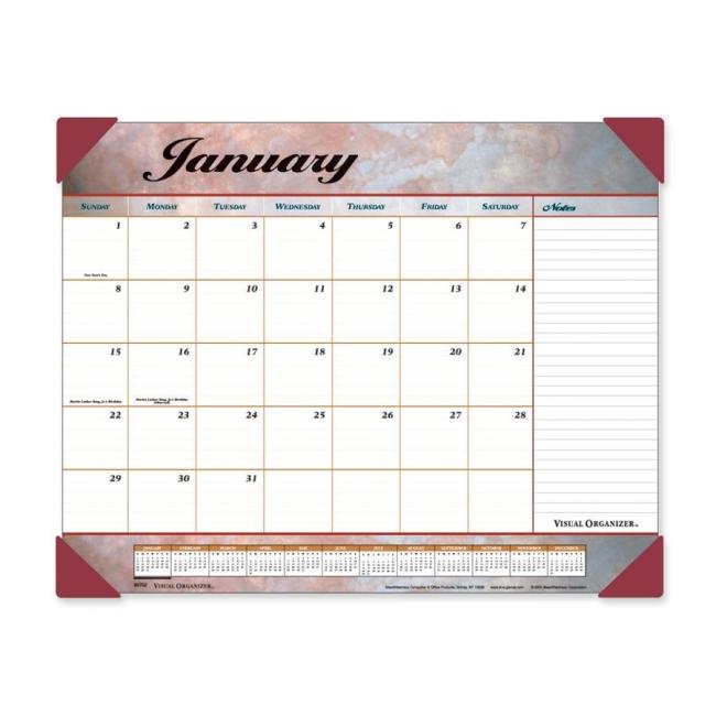 Visual Organizer Marble Look Desk Pad Calendar Quickship Com