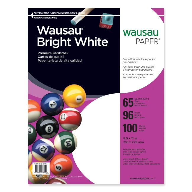 Wausau Paper Card Stock Paper 100 / Pack - Bright White - Quickship ...