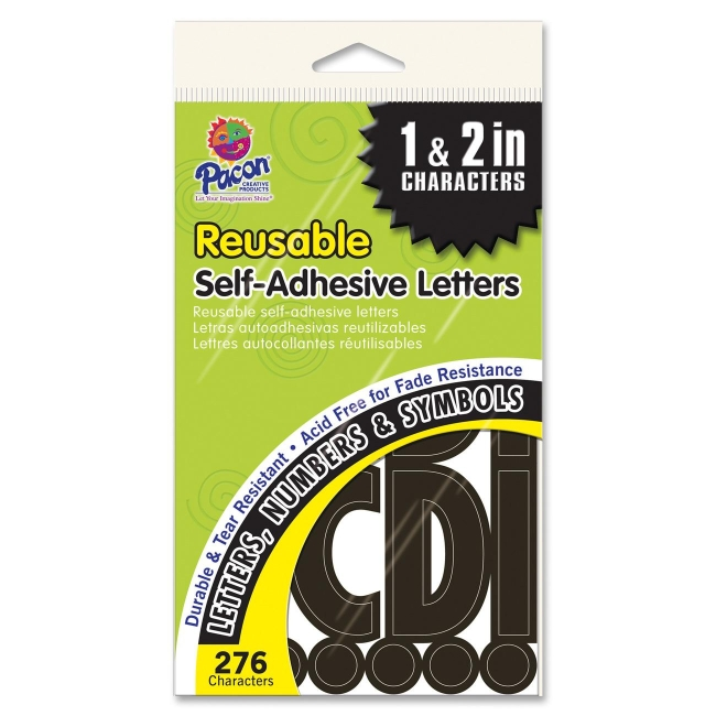 Pacon self adhesive letters 276 black quickshipcom for Black adhesive letters