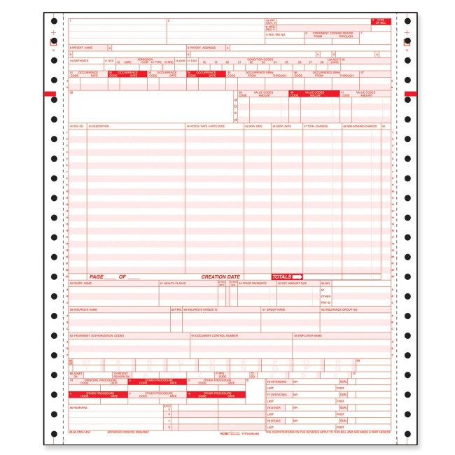 Tops Ub-04 Hospital Claim Form - 2500 / Carton - Quickship.Com