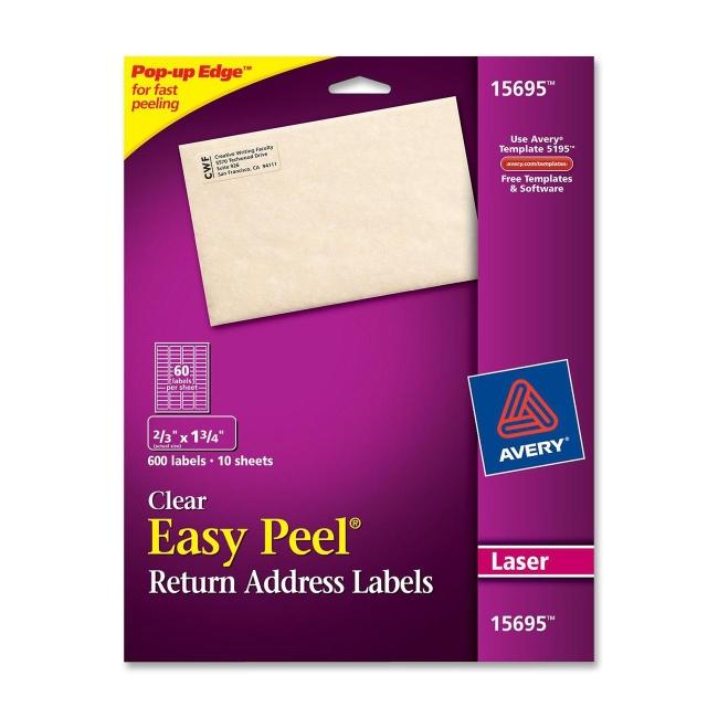 avery easy peel return address labels clear 0 67 width x 1 75