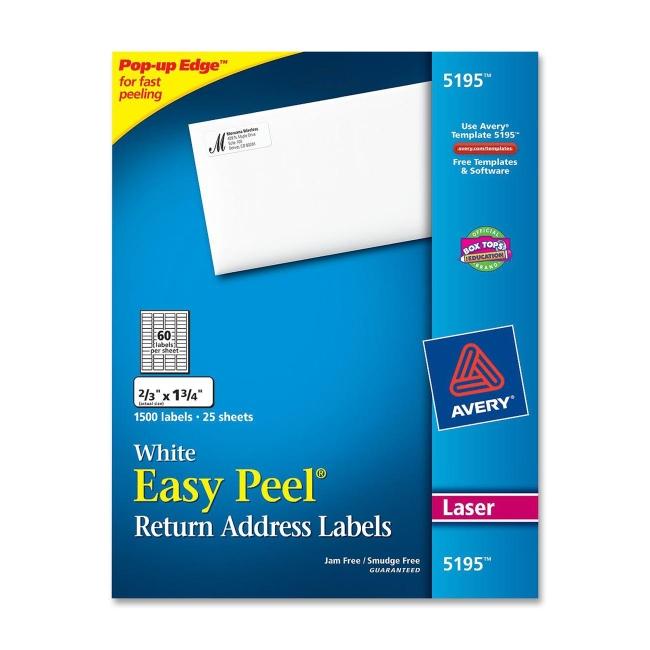 avery easy peel return address labels white  1500  pack 1