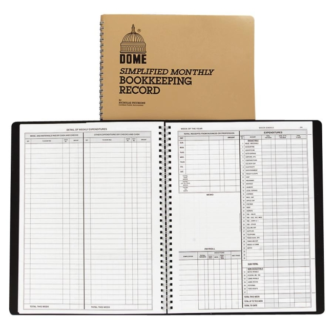 dome publishing simple weekly monthly accounting book 50 sheets