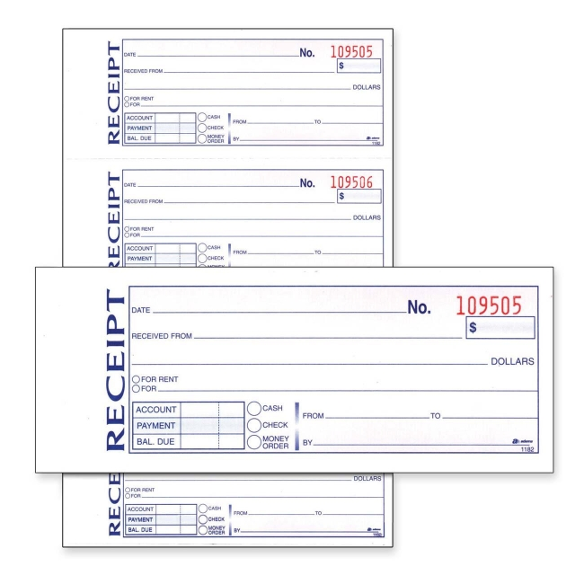 adams money rent receipt book 11 length x 7 62 width quickship com
