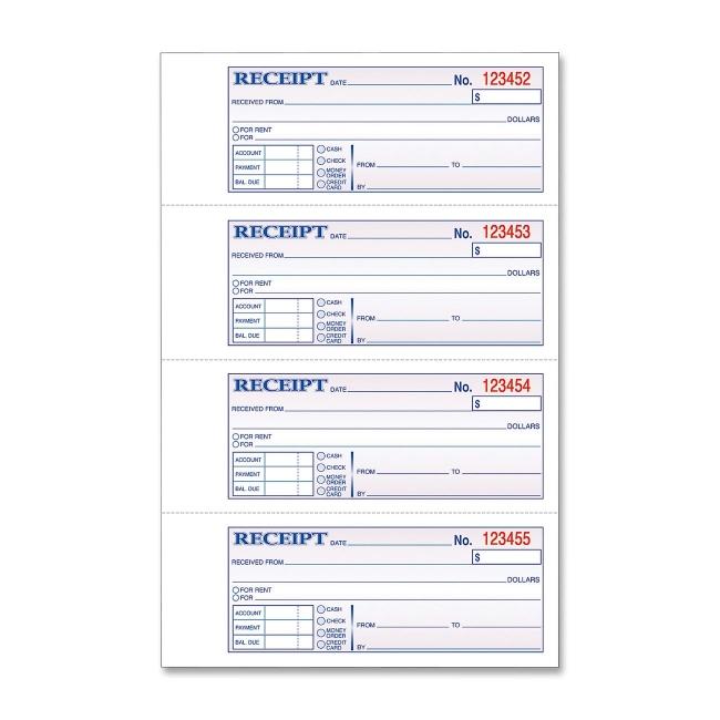 adams tape bound moneyrent receipt book