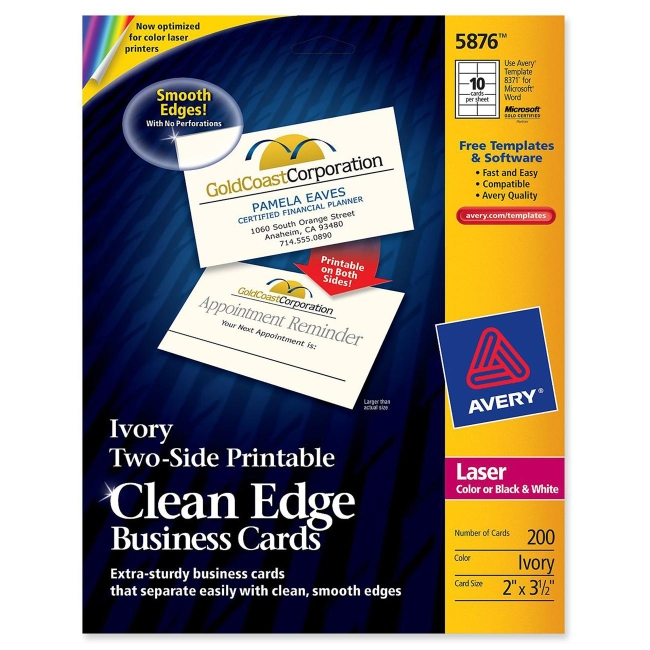 Avery clean edge laser business cards ivory 200 pack avery clean edge laser business cards ivory 200 pack colourmoves