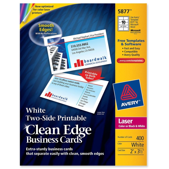 Avery clean edge laser business cards 350 x 2 white 400 box avery clean edge laser business cards 350 x 2 white cheaphphosting Gallery