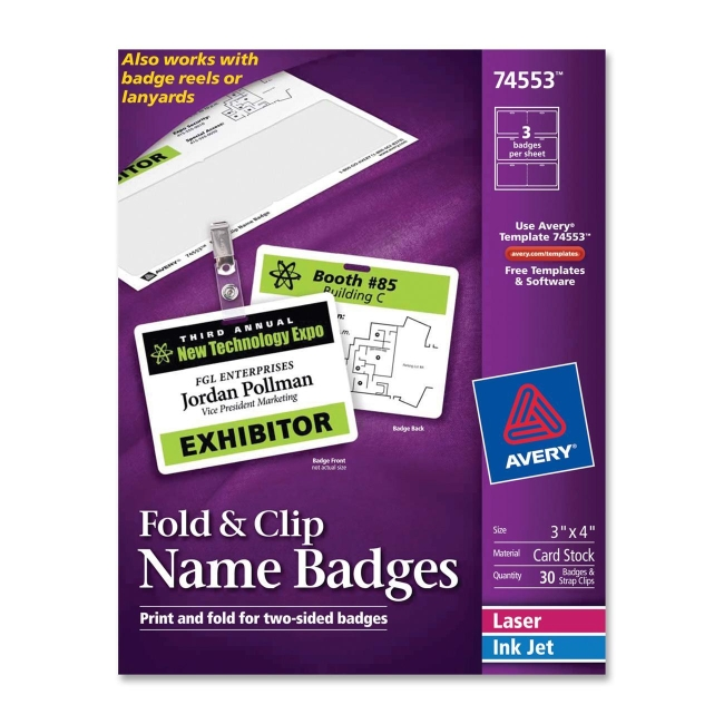 avery name badge insert 30 box white quickship com