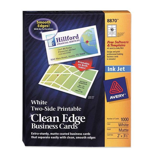 Avery Inkjet Clean Edge Business Cards White Matte 1000 Box