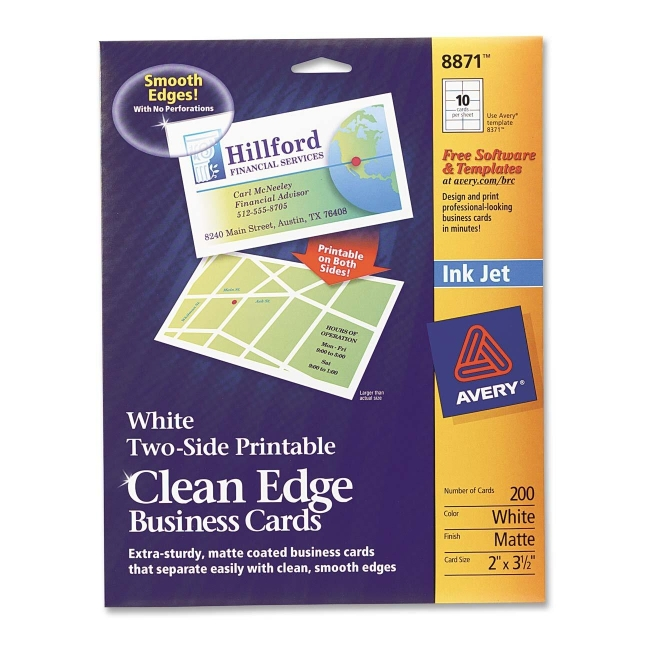 Avery clean edge inkjet business cards matte white 200 pack avery clean edge inkjet business cards matte white 200 pack reheart Images