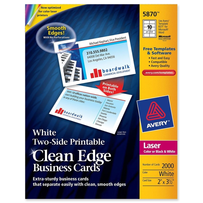 Avery Clean Edge Business Cards Matte White 35 X 2