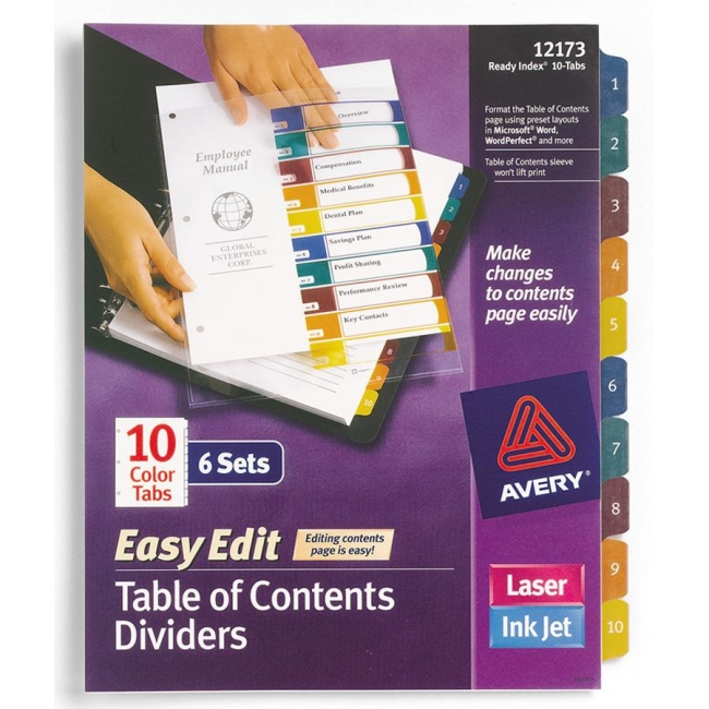 Avery Easy Edit Index Divider 6 Pack Multicolor