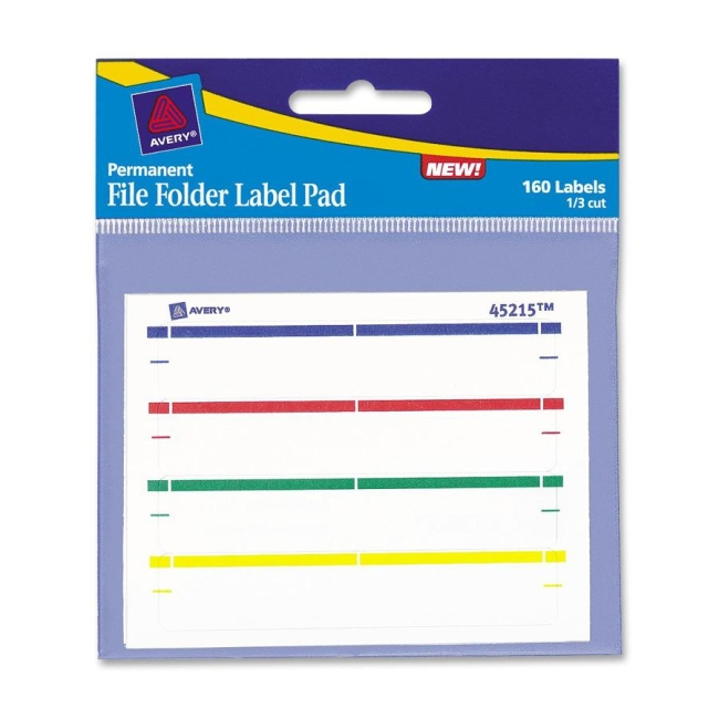 Avery File Folder Label Pad - 160 / Pack - Assorted Colors