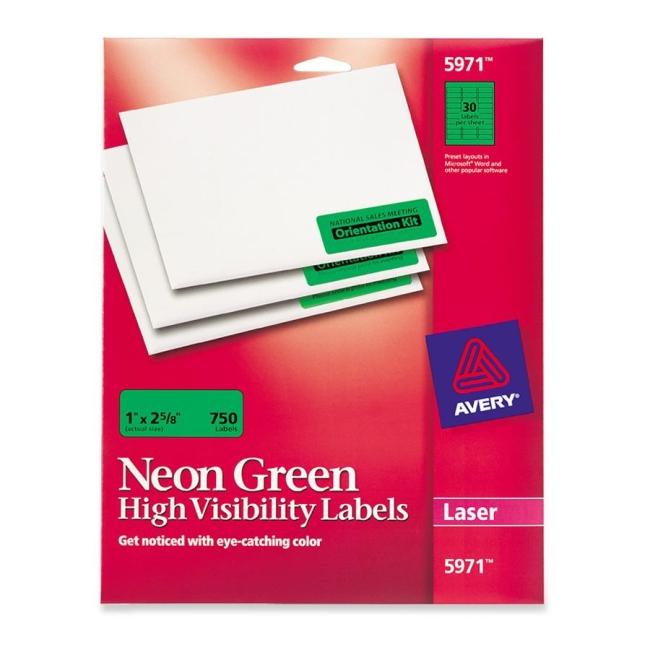avery laser labels 750 pack green quickship com