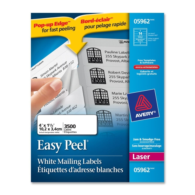 avery mailing labels 1 33 width x 4 length 3500 box