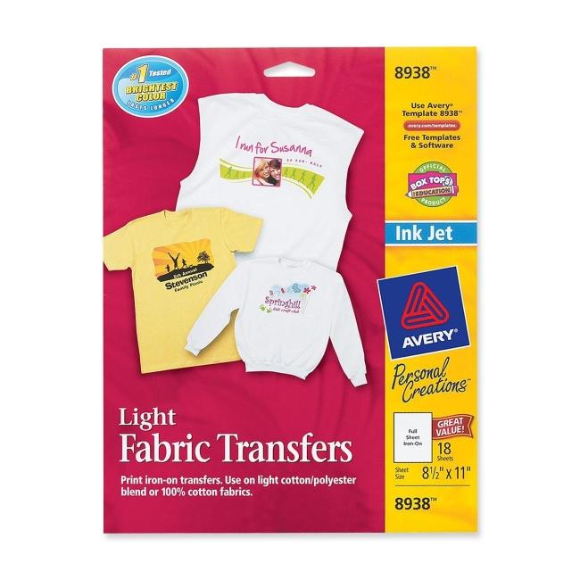 Avery T Shirt Transfer 12 Pack White Quickship