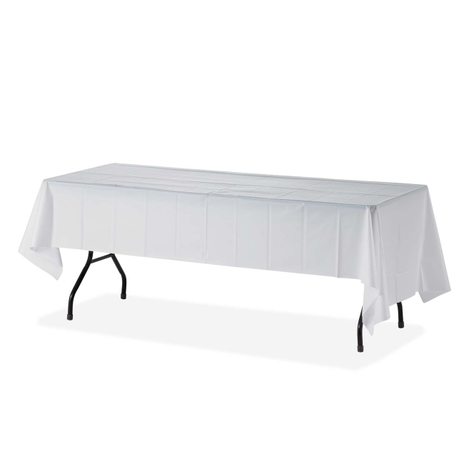 Genuine Joe Rectangular Table Cover   6 /Pack   White