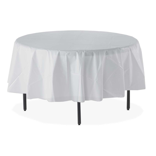 Superieur Genuine Joe Round Table Cover   Plastic   6 / Pack   White