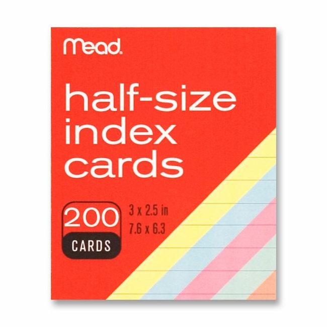 MeadWestvaco Half Size Index Cards 200 Pack Assorted Colors